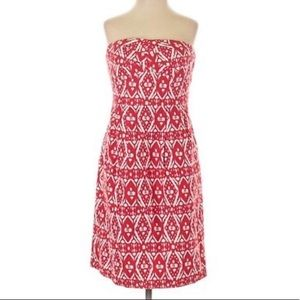 J. Crew Red and White Ikat Strapless Dress